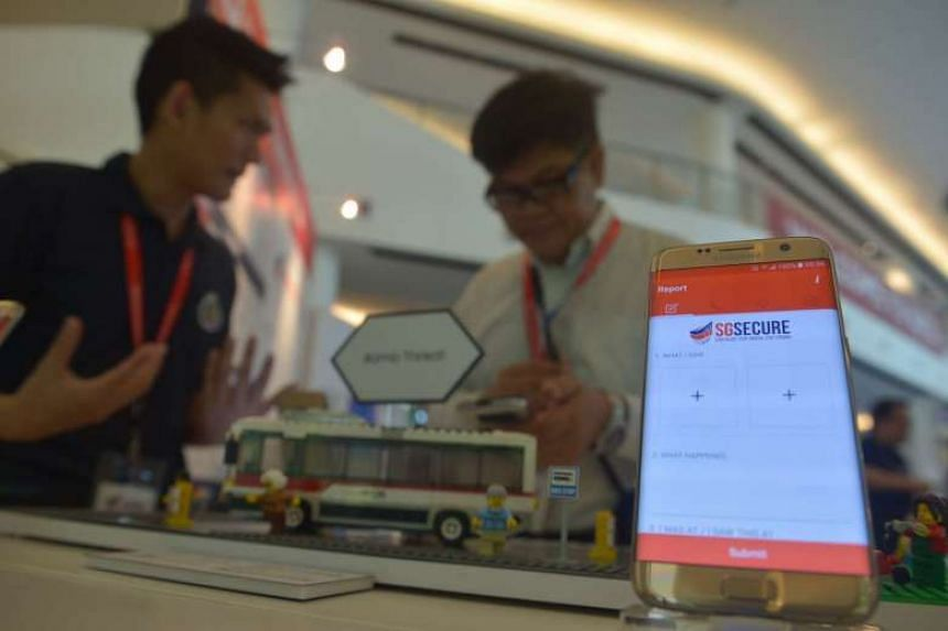The SGSecure app displayed on a mobile phone.