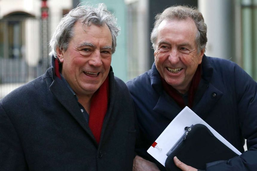 Monty Python members Terry Jones (left) and Eric Idle are pictured together in December 2012.