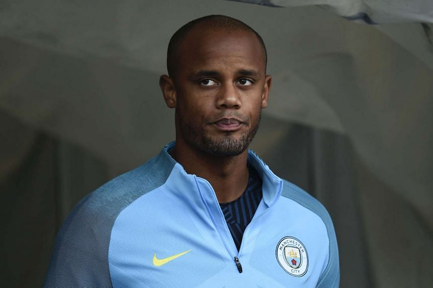 Kompany (above) returned to action against Swansea on Wednesday but was forced off before the end.