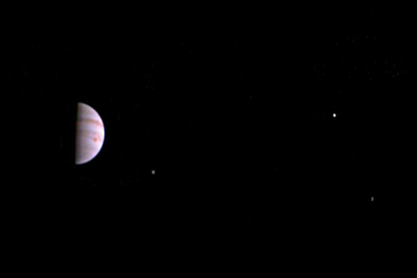 This image obtained from Nasa, shows a colour view from Nasa's Juno spacecraft made from some of the first images taken by JunoCam after the spacecraft entered orbit around Jupiter on July 5th (UTC).
