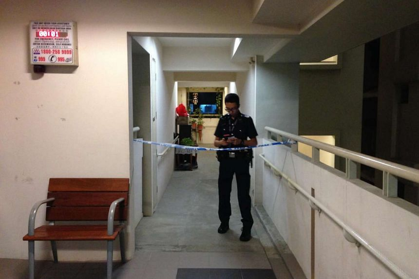 A police cordon can be seen near the unit at Block 152B, Bishan Street 11, on Saturday (Sept 24), where a 60-year-old man was found dead in his living room.