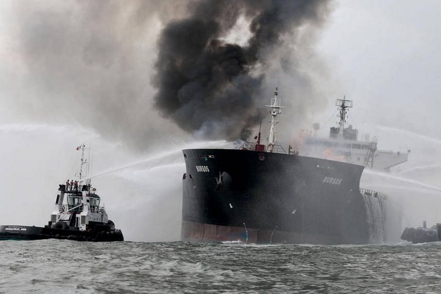 A fire broke out on a tanker belonging to the Mexican state oil company Pemex in the Gulf of Mexico off the coast of Boca del Rio on Sept 24, 2016.