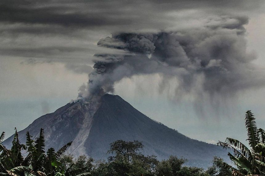 Mount Sinabung volcano in Karo, North Sumatra. Indonesia holds an estimated 40 per cent of the world's geothermal energy reserves.