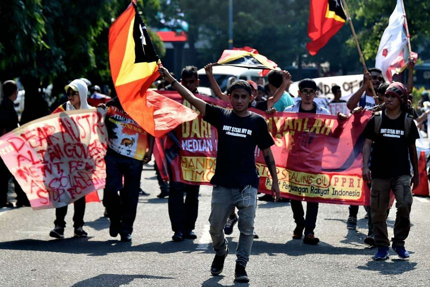 East Timorese students living in Indonesia attending a rally in front of the Australian embassy in Jakarta on March 24, 2016.