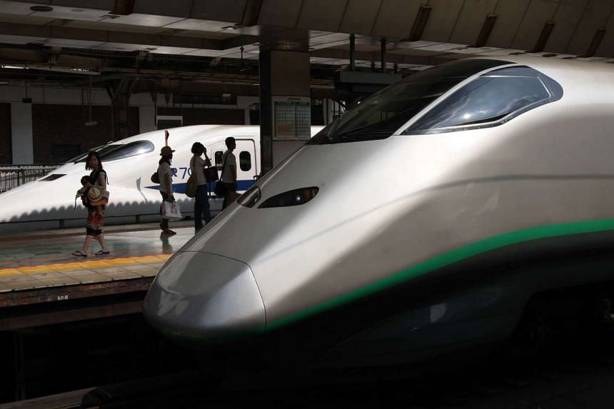 A bullet train in Japan had to make an emergency stop when a passenger spotted a snake between the seats.
