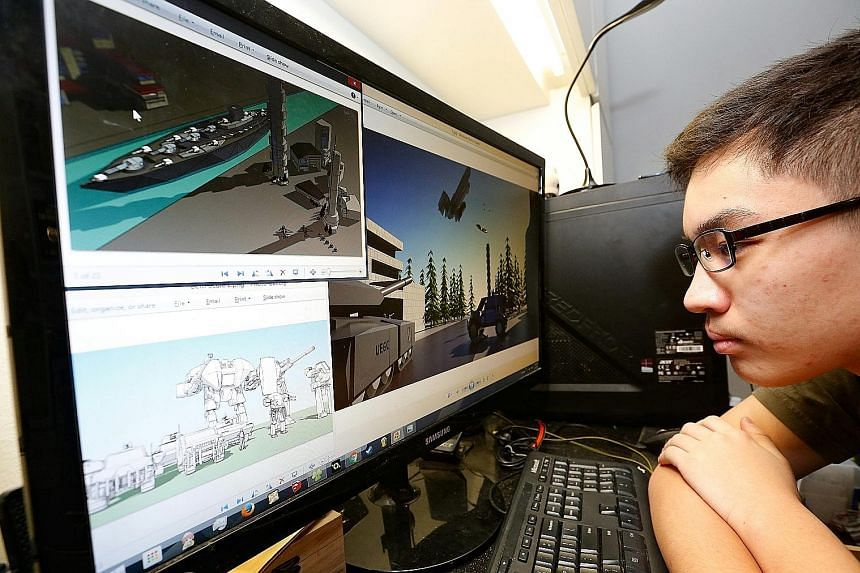 Joshua Ng, showing some of the 3D graphics models he has done. He developed an interest in 3D modelling and animation in Sec 2 and his passion for his hobby has helped him earn a spot in Ngee Ann Polytechnic's diploma in animation and 3D arts through