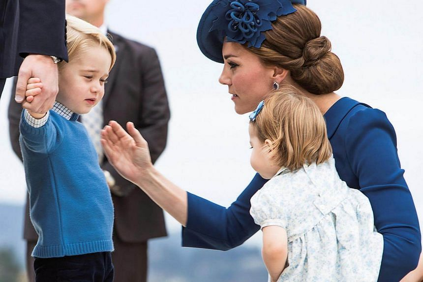 Britain's Prince William, the Duchess of Cambridge and Princess Charlotte arriving at the Victoria International Airport in Canada on Sept 24, 2016.