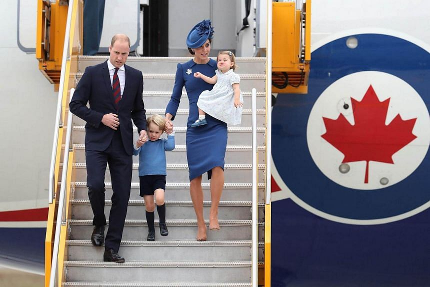 Prince William, the Duchess of Cambridge, Prince George and Princess Charlotte arriving at Victoria Airport in Canada on Sept 24, 2016.