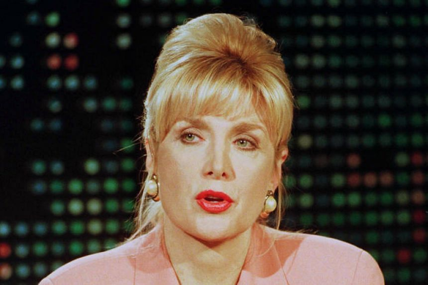 Gennifer Flowers during her live interview on CNN's Larry King Live show in Hollywood, California.
