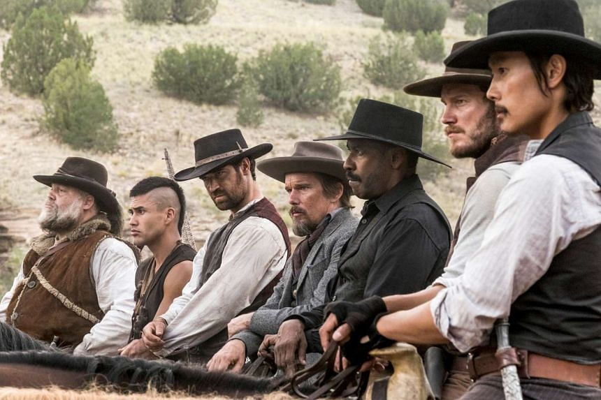 From left to right, Vincent D'Onofrio, Martin Sensmeier, Manuel Garcia-Rulfo, Ethan Hawke, Denzel Washington, Chris Pratt and Byung-hun Lee in The Magnificent Seven.