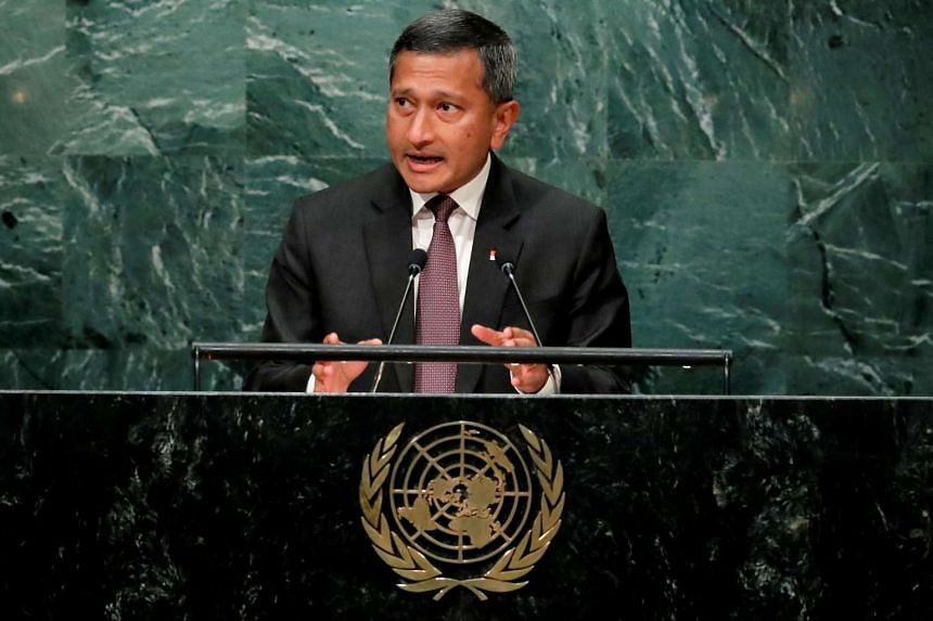 Singapore Minister for Foreign Affairs Dr Vivian Balakrishnan addresses the UN General Assembly in Manhattan on Monday (Sept 26).