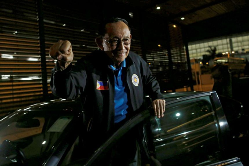 Former Philippine President Fidel Ramos reacts as he arrives at Hong Kong International Airport, China on Aug 8, 2016.