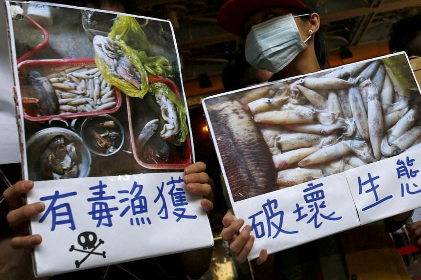 Protesters hold placards during a protest calling for Taiwanese industrial group Formosa Plastics to investigate and voluntarily disclose its own findings on massive fish deaths in Vietnam, in Taipei on June 17, 2016.