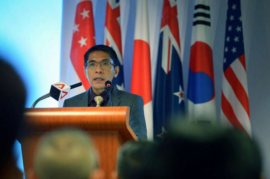 Dr Maliki Osman, Senior Minister of State for Defence, delivers his speech at the opening ceremony for Exercise Deep Sabre.