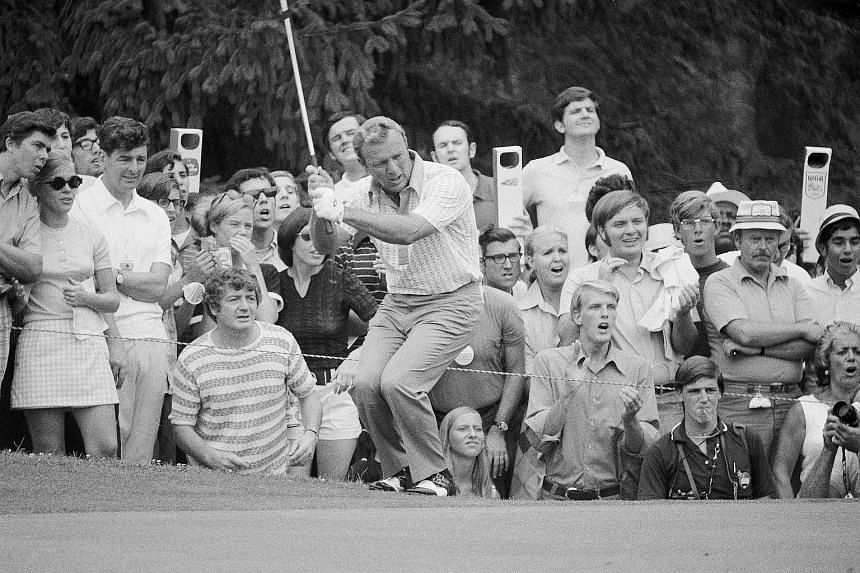 Anti-clockwise from above: Arnold Palmer playing in Augusta, Georgia, in 2008; Harrison, New York, in 1971; and East Norwich, New York, in 1958. Popularly known as The King, he was one of golf's first television superstars, helping to make the sport