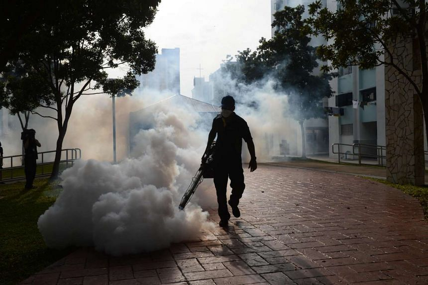Fogging activities being carried out in Bedok North at the start of September to curb mosquito breeding.