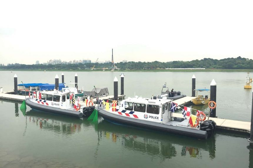Two new Police Coast Guard patrol boats for the Marina Reservoir area were commissioned at the Marina Barrage on Sept 27, 2016.