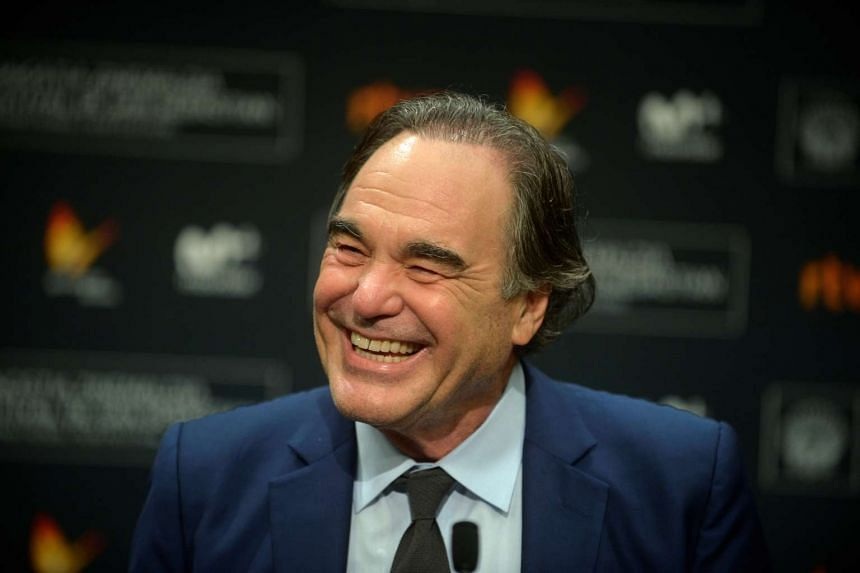 Director Oliver Stone speaks at a news conference  at the San Sebastian Film Festival in Spain.