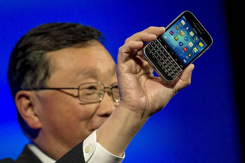 BlackBerry Chief Executive Officer John Chen introduces the Blackberry Classic smartphone on Dec 17, 2014.