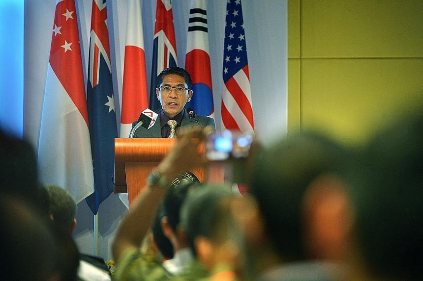 Dr Maliki speaking at the opening ceremony of the four-day drill Deep Sabre at the Changi Command and Control Centre yesterday.