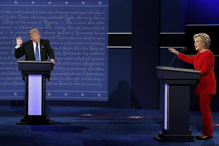 In their 90-minute exchange on Monday night, Mr Trump and Mrs Clinton debated topics such as jobs and trade, but found themselves alternating between policy discussions and personal attacks. Polls afterwards found that debate watchers had largely han