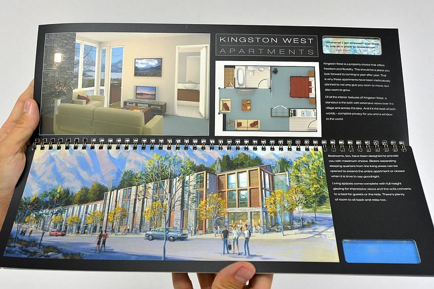 A brochure for Kingston West, one of the developments that was part of the Kawarau Falls project, which was planned as an integrated world-class village resort, but was not fully completed.