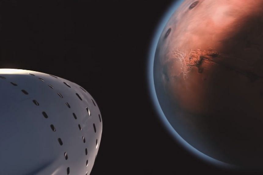 A screenshot from a SpaceX video showing how the trip to Mars would be made.