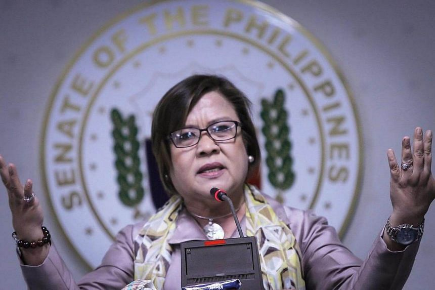Filipino Senator Leila De Lima speaking during a press conference at the Philippine Senate in Pasay City, south of Manila.