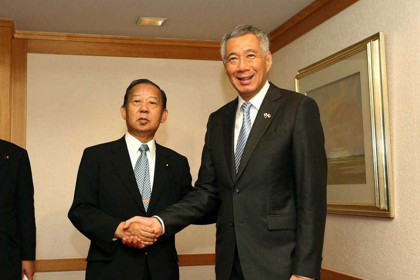 Prime Minister Lee Hsien Loong with Liberal Democratic Party (LDP) Secretary-General Toshihiro Nikai, at Imperial Hotel, Tokyo on Sept 27, 2016.