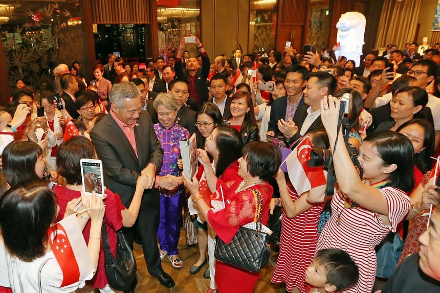Prime Minister Lee Hsien Loong and Ho Ching arrive at a National Day reception for Singaporeans residing in Japan, at Palace Hotel, Tokyo on Sept 27, 2016.