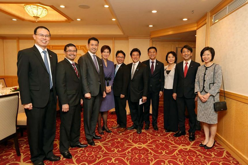 Singapore delegates at a lunch session with Japan's Young Liberal Democratic Party politicians at the Imperial Hotel, Tokyo on Sept 27, 2016.