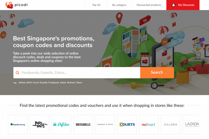 The Picodi Singapore website, with a wide selection of online discount codes, deals and coupons.