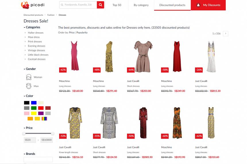 The Picodi Singapore website, with various categories like fashion.