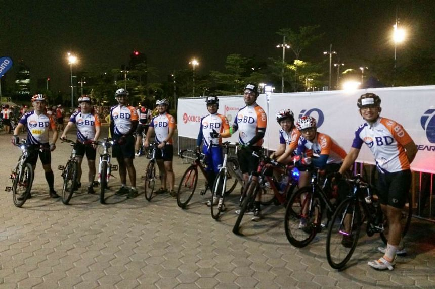 Above: For non-competitive riders, there is the Corporate Bike Run, with sign-ups increasing this year for both the 42km Sportive Ride and the 23km Straits Times Ride. Fifteen Becton Dickinson employees took part last year and there will be 32 of them for