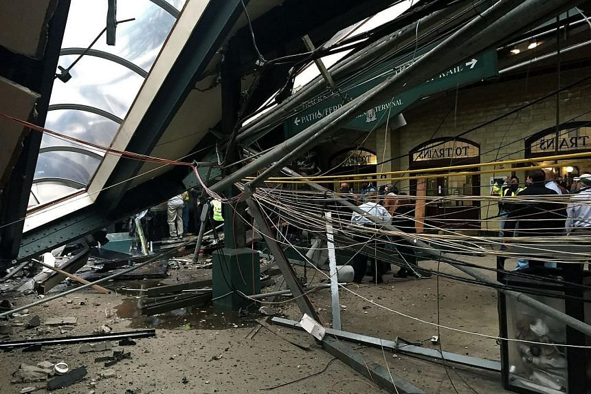 The roof collapse after a NJ Transit train crashed in to the platform at the Hoboken Terminal on Sept 29, 2016 in Hoboken, New Jersey.