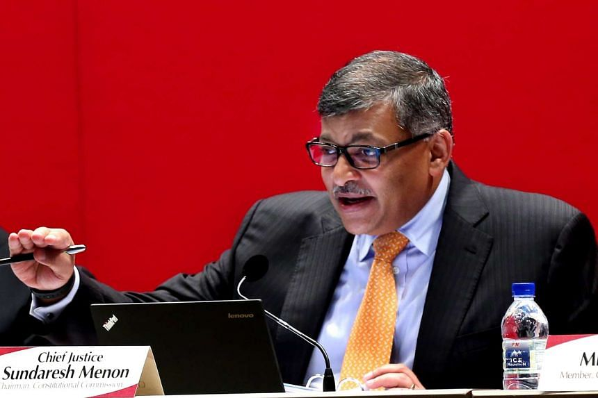 Chief Justice Sundaresh Menon at the second Constitutional Commission hearing on the elected presidency on April 22, 2016.