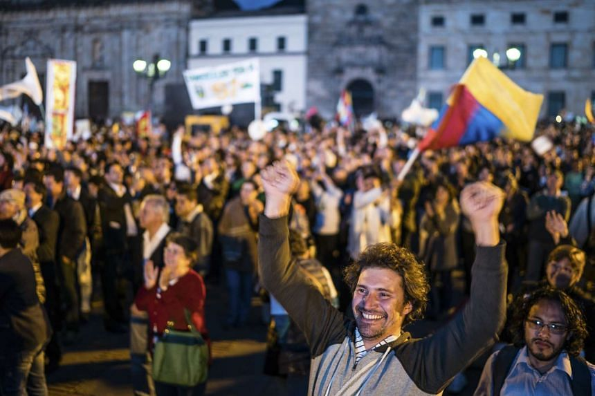 A celebration of the signing of a peace agreement between the Colombian government and the Revolutionary Armed Forces of Colombia in Bogota on Sept 26, 2016.