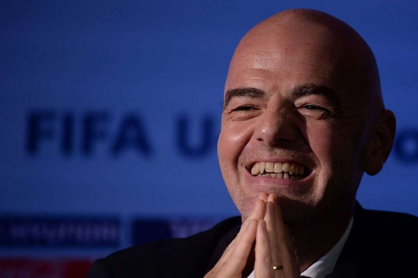 Fifa President Gianni Infantino laughs at a press conference in Panjim on Sept 27, 2016.