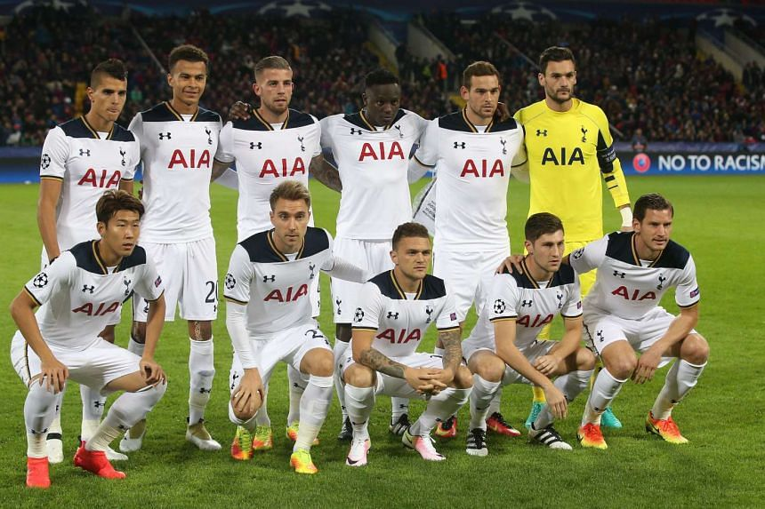 Players for Tottenham Hotspur pose for a group portrait prior to the start of the UEFA Champions League Group E soccer match between CSKA Moscow and Tottenham Hotspur at the CSKA Arena stadium in Moscow, Russia on Sept 27, 2016.
