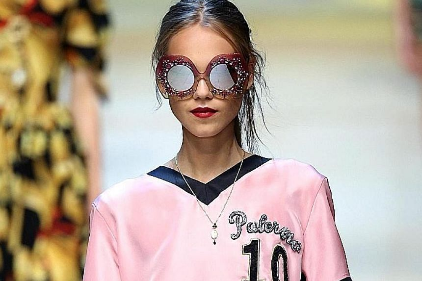 A model presents a creation from the Spring/ Summer 2017 collection by Dolce & Gabbana during the Milan Fashion Week on Sunday.