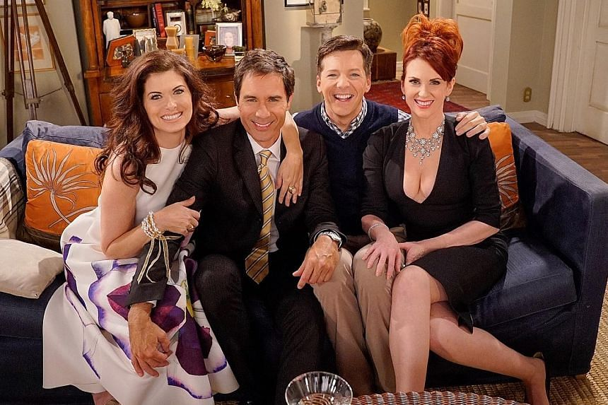 Will & Grace stars (from left) Debra Messing, Eric McCormack, Sean Hayes and Megan Mullally reunited on the set of the pair's old apartment in a mini episode convincing Karen and Jack to support Hillary Clinton.