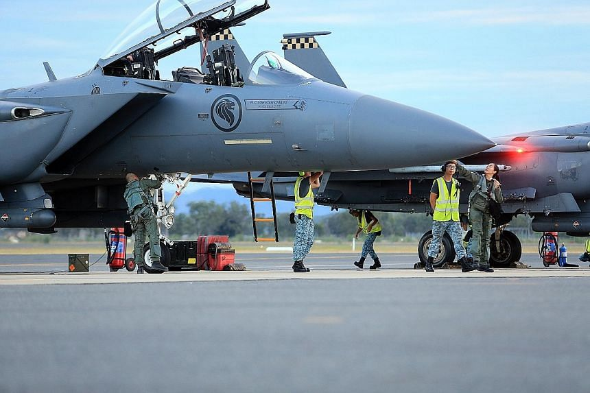 RSAF personnel at Rockhampton Airport preparing F-15 aircraft for a night mission during Exercise Wallaby 2016. This is the first time that F-15 fighter jets are taking part in Exercise Wallaby, which started in 1990.