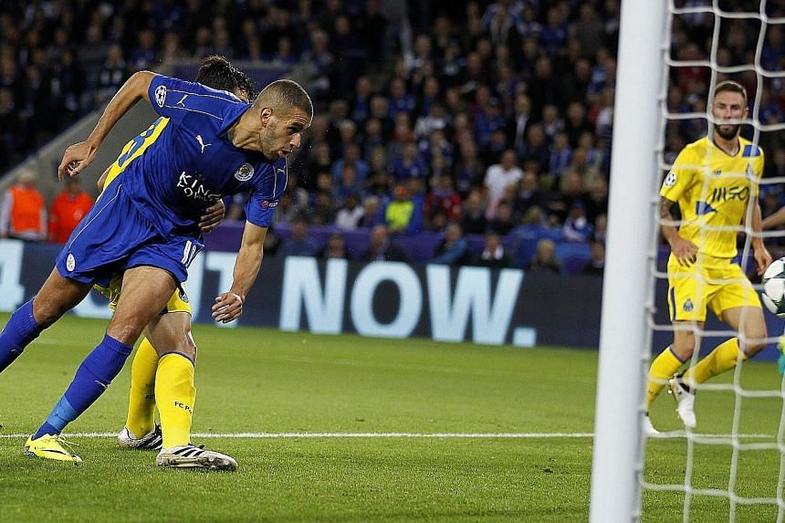 Islam Slimani heading in the winner. The Algerian continued his remarkable scoring record against Porto to give Leicester City a historic win that puts them in a commanding position at the top of Group G.