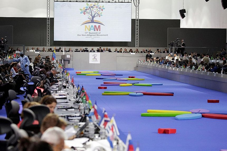 The NAM summit in Venezuela earlier this month. Singapore Ambassador to China Stanley Loh said it is a tradition in NAM for countries of a region to update their respective sections in the final document without interference.