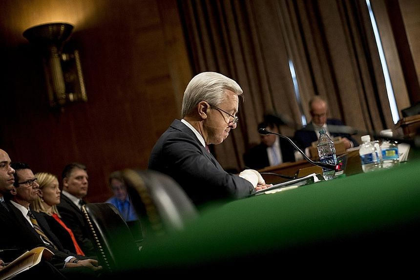 Mr Stumpf, Wells Fargo chief executive, before the US Senate Committee on Banking, Housing and Urban Affairs in Washington, on Sept 20. The company is facing a hearing by the US House Financial Services Committee today.