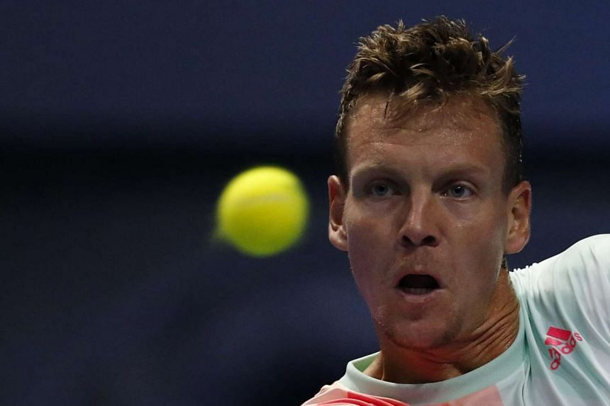 Berdych (above) blasted 16 aces to overpower his Kazakh opponent in two sets and secure his quarter-final berth.