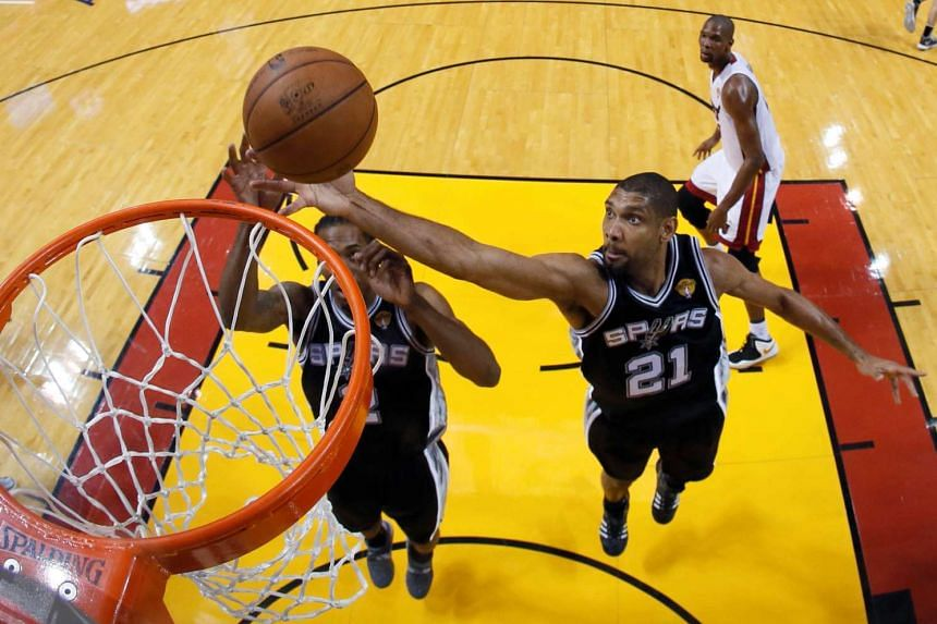 San Antonio Spurs forward Tim Duncan during Game 6 of the NBA Finals. StarHub will cease transmission of the 24-hour basketball channel NBA TV on its pay-TV service come next month.