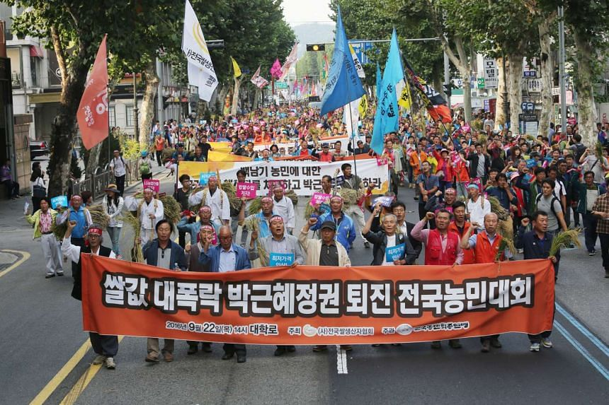 "South Korean farmer demonstrating with banners reading ""President Park Geun Hye Resignation"" during a rally against the government's agricultural policy in Seoul on Sept 22, 2016."
