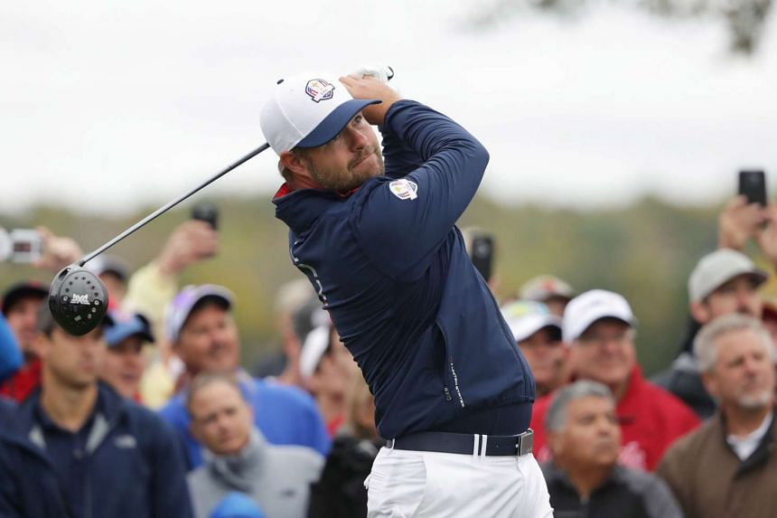 Ryan Moore of the United States hits off the tee during practice prior to the 2016 Ryder Cup at Hazeltine National Golf Club in Chaska, Minnesota on Sept 28, 2016.