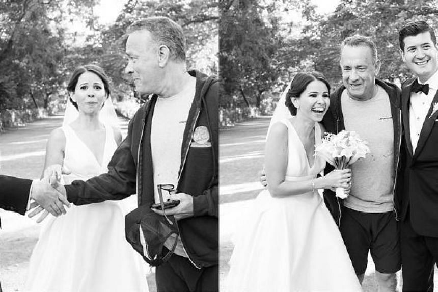 Actor Tom Hanks stopped in the middle of his run in Central Park to congratulate Ryan and Elisabeth on their wedding day.